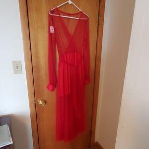 NBW Sheer Red Choies Dress Size XXL